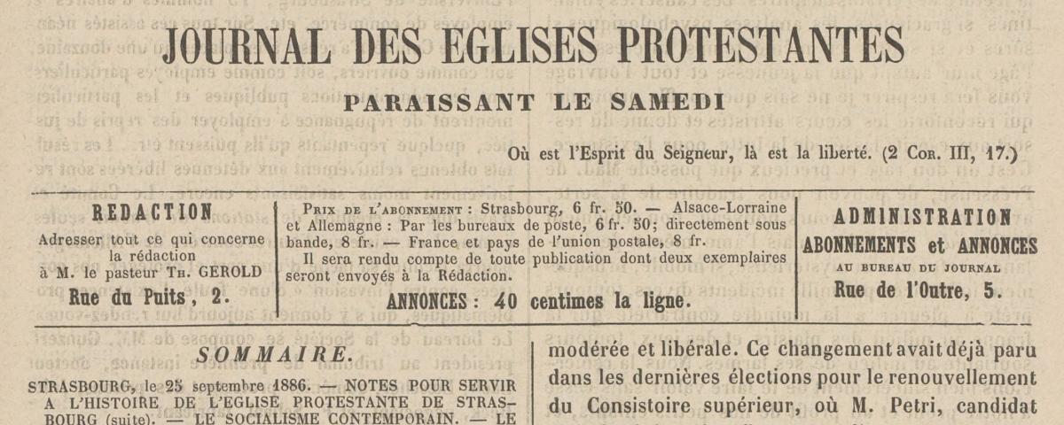 Le progrès religieux - une du 25 sept 1886